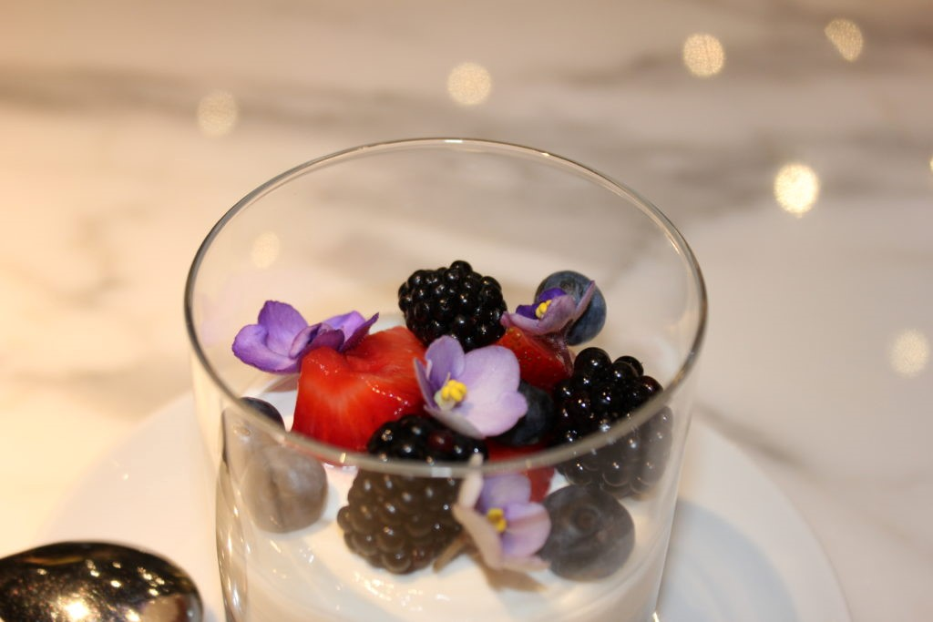 Berry pannacotta light