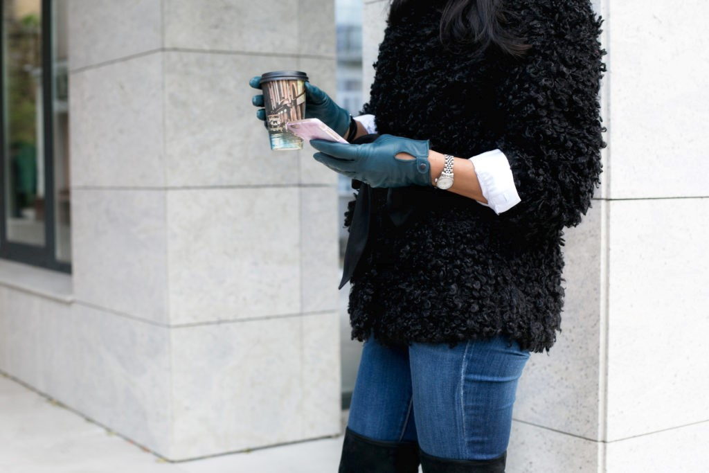 Coffee and lovely fur coat